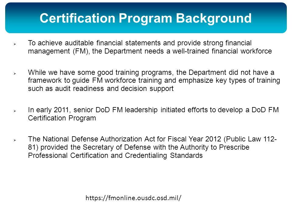 DoD Financial Management Certification Program - ppt download