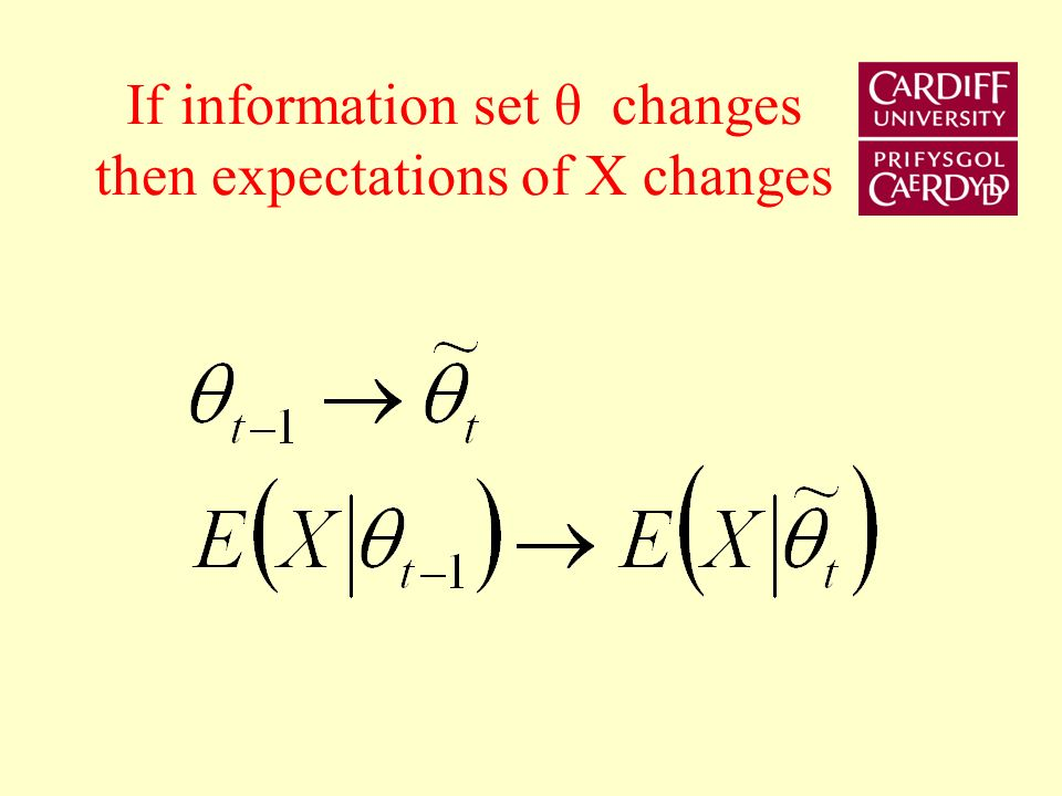If information set θ changes then expectations of X changes