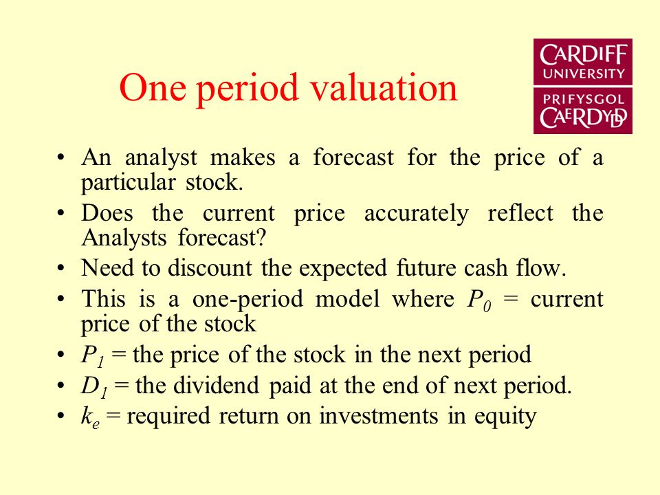 One period valuation An analyst makes a forecast for the price of a particular stock.