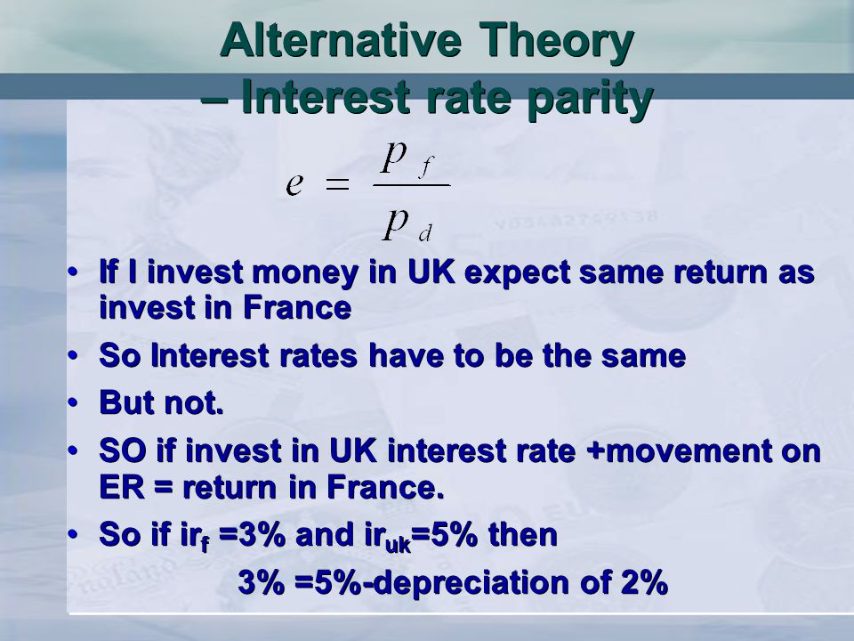 Alternative Theory – Interest rate parity