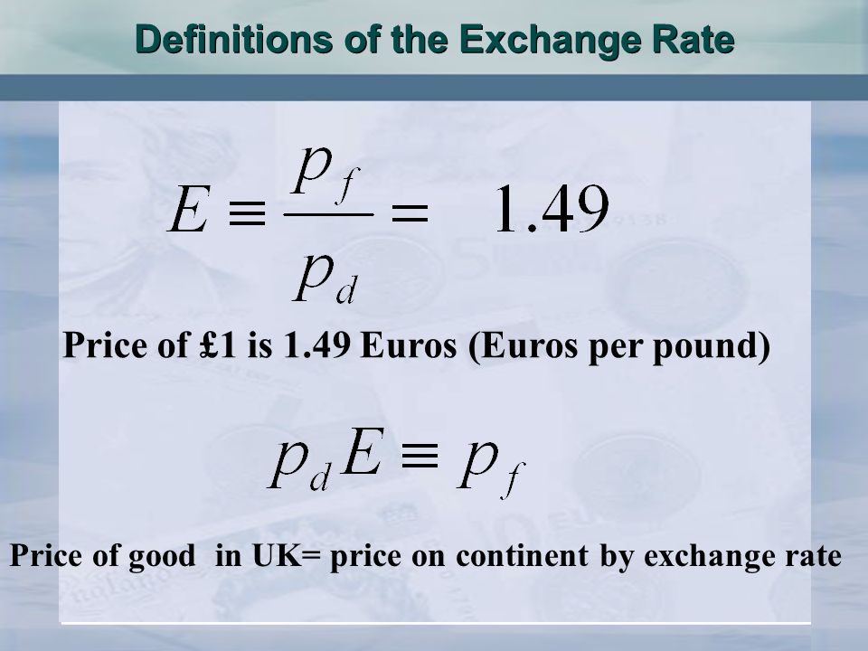 Definitions of the Exchange Rate