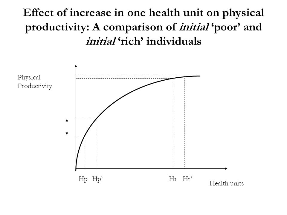 Effect of increase in one health unit on physical productivity: A comparison of initial 'poor' and initial 'rich' individuals