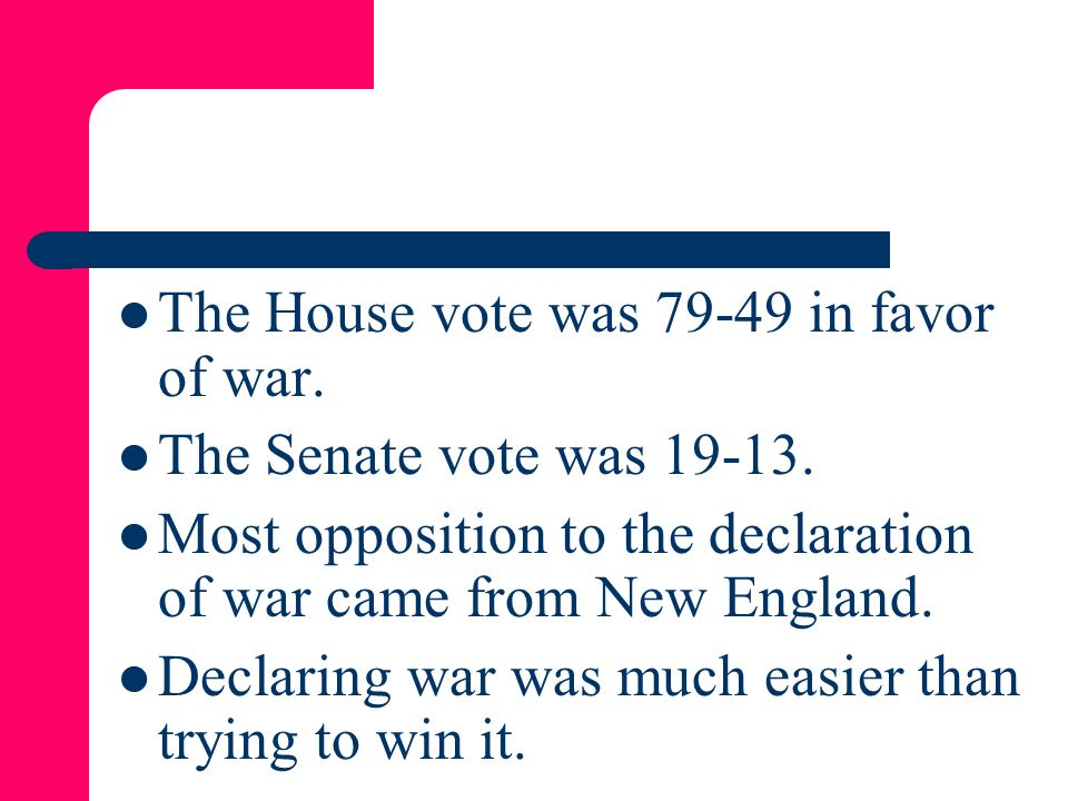The House vote was in favor of war.