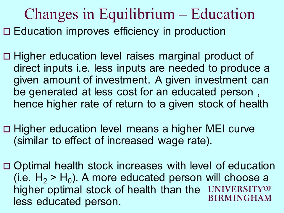Changes in Equilibrium – Education