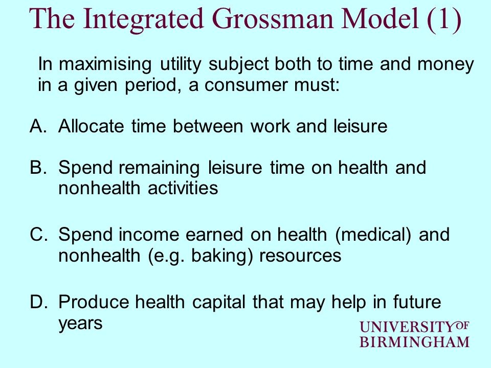 The Integrated Grossman Model (1)