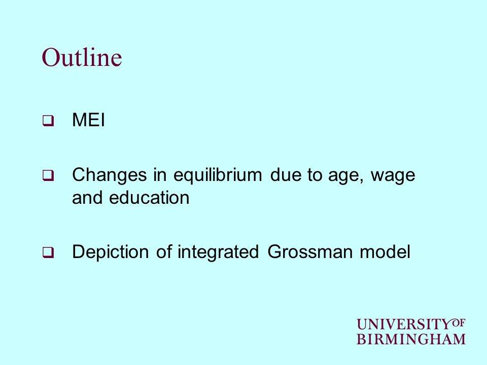 Outline MEI Changes in equilibrium due to age, wage and education