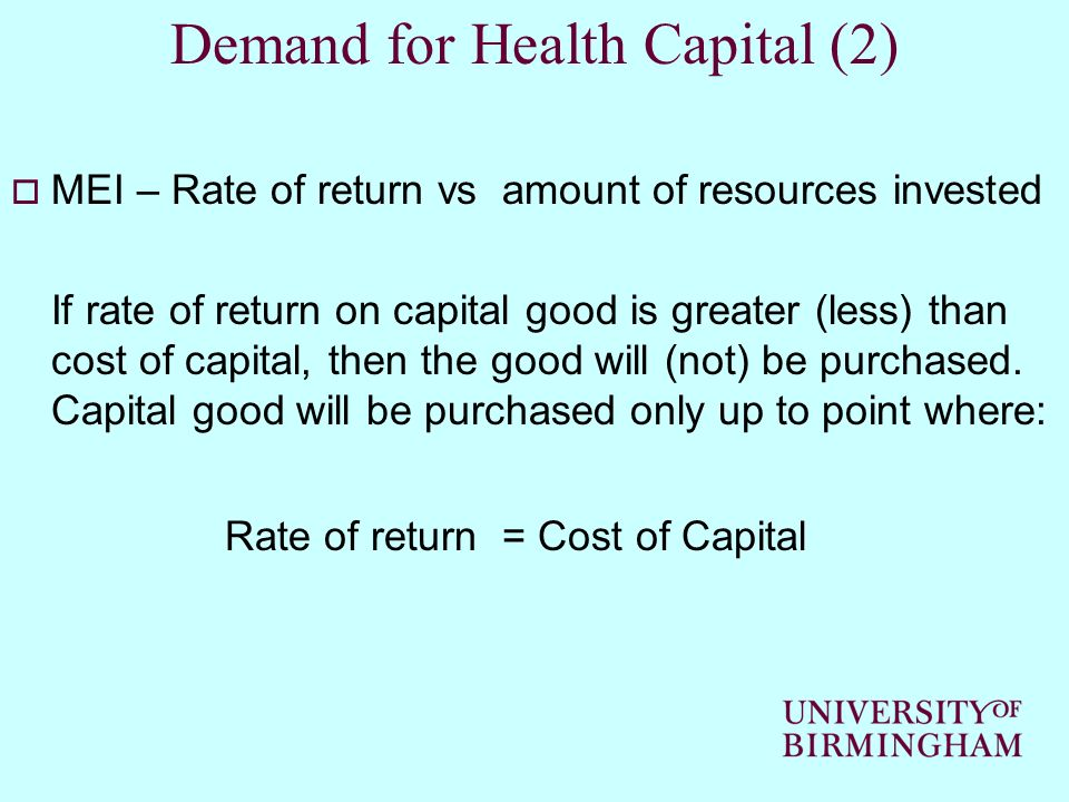Demand for Health Capital (2)