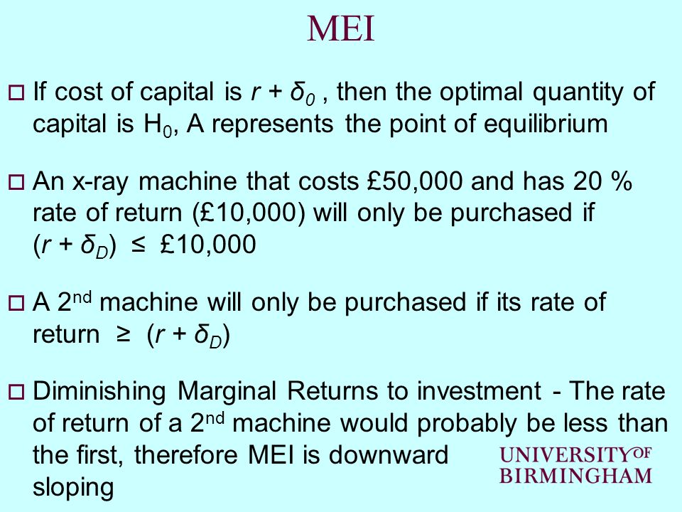 MEI If cost of capital is r + δ0 , then the optimal quantity of capital is H0, A represents the point of equilibrium.