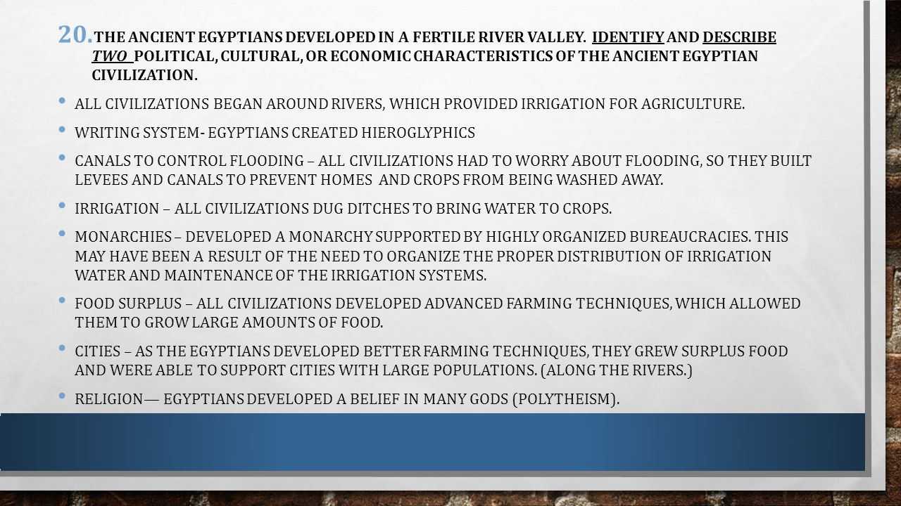 Features of irrigational agriculture in ancient Egypt 14