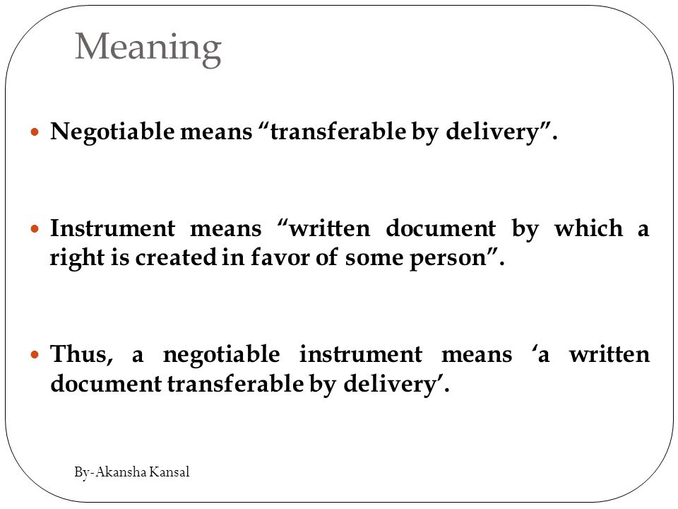 meaning of negotiable instrument in hindi