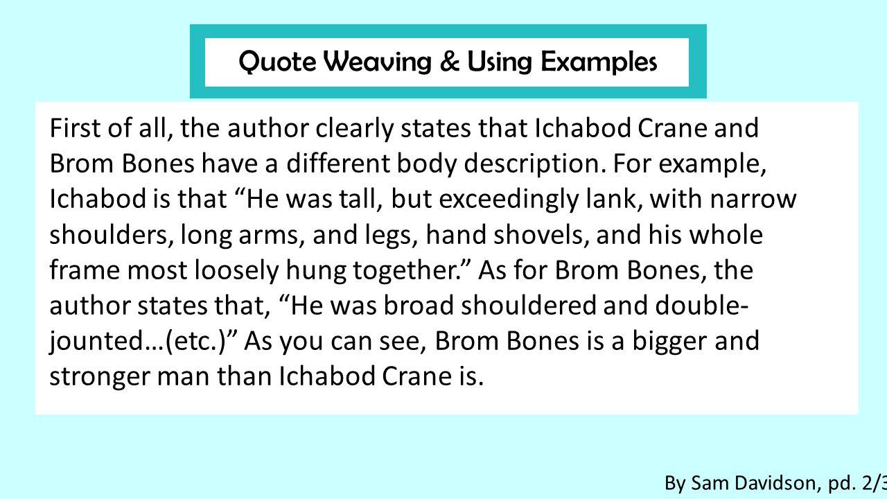 ichabod crane and brom bones compare