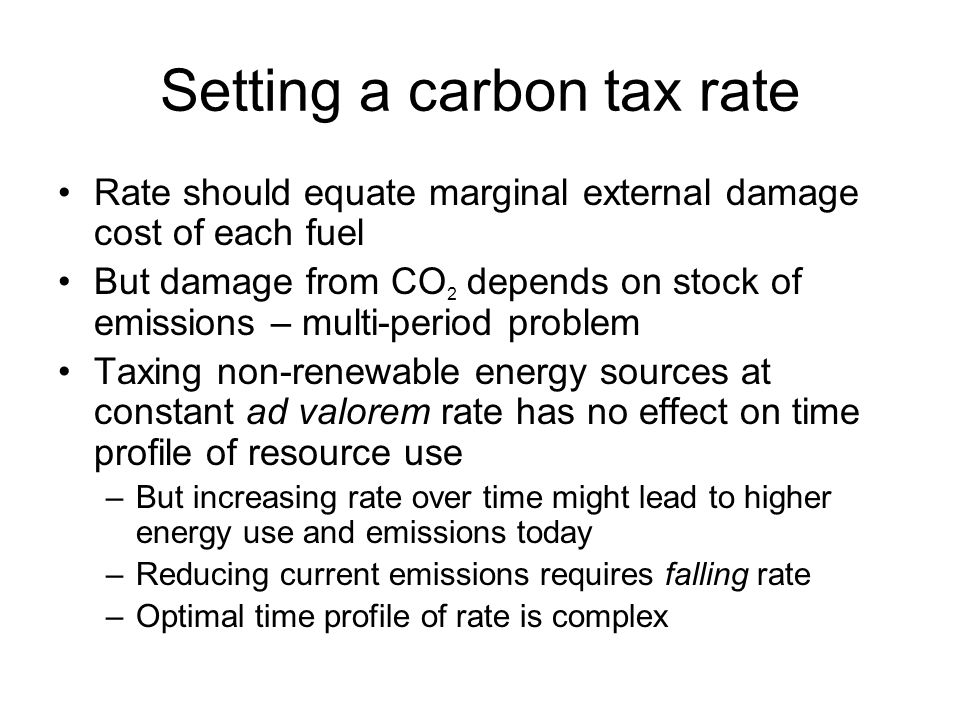 Setting a carbon tax rate