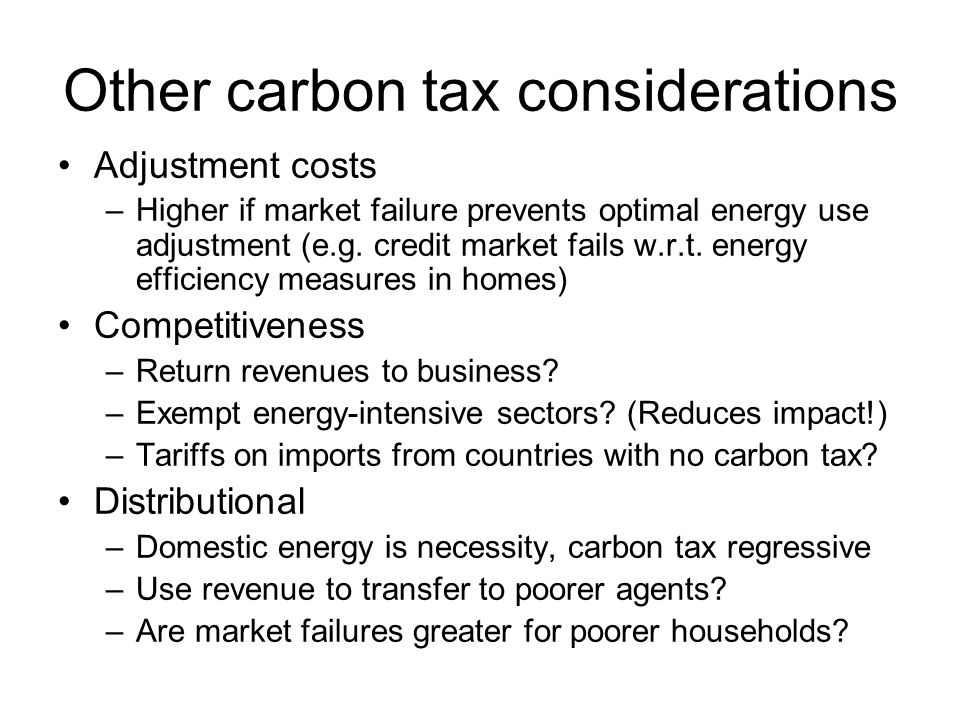 Other carbon tax considerations