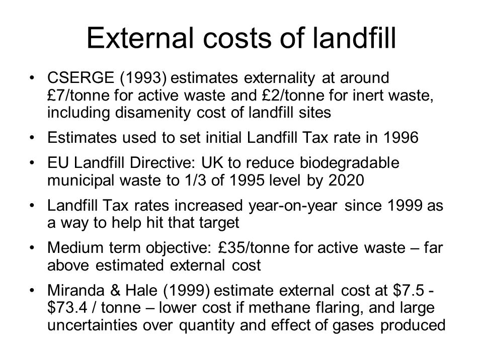 External costs of landfill