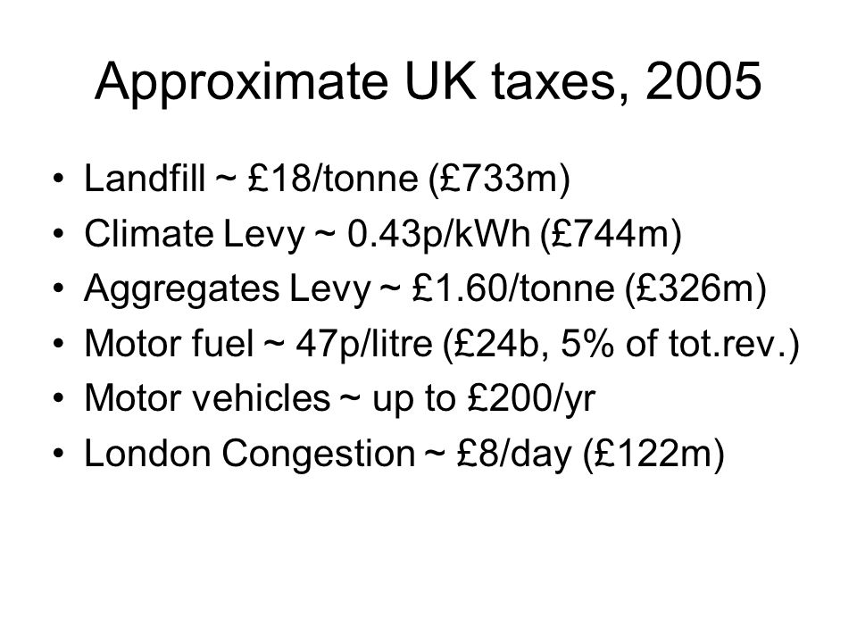 Approximate UK taxes, 2005 Landfill ~ £18/tonne (£733m)