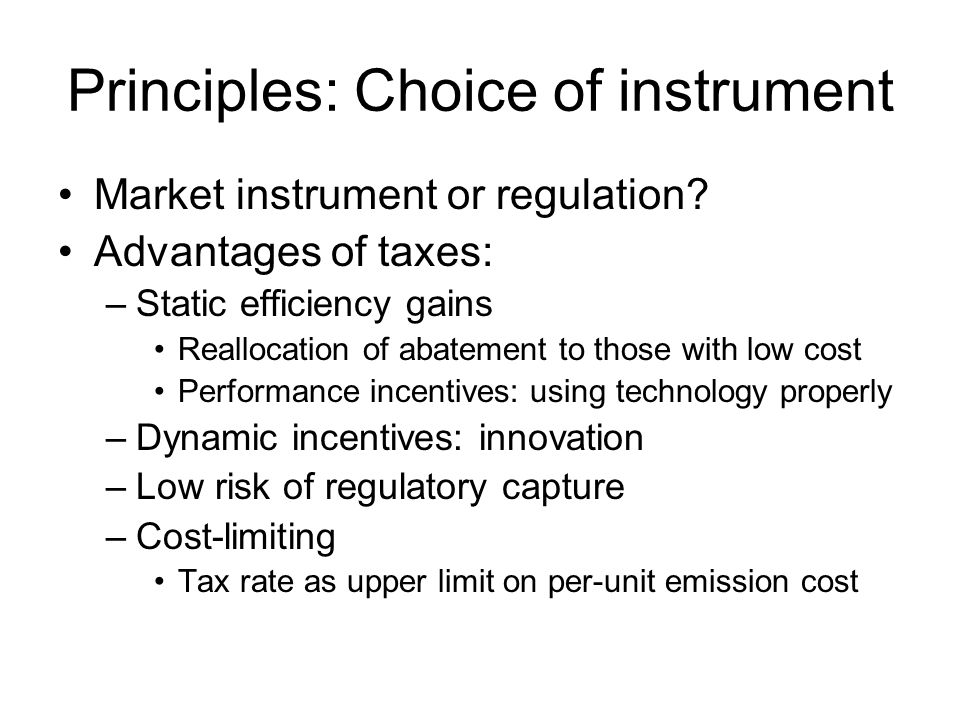 Principles: Choice of instrument