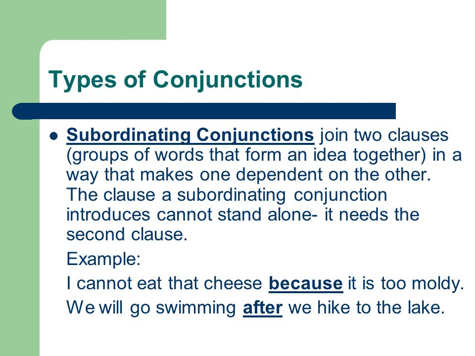 Conjunction conjunction is a word or phrase used to combine words.