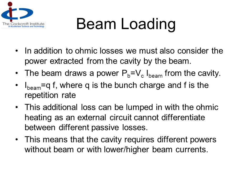 Beam Loading In addition to ohmic losses we must also consider the power extracted from the cavity by the beam.