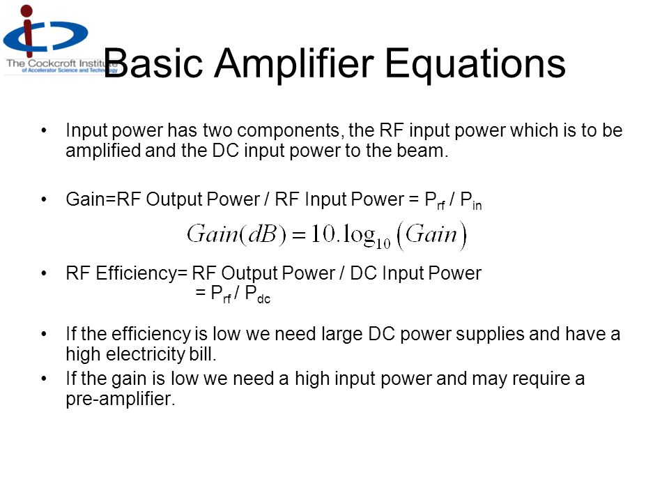 Basic Amplifier Equations