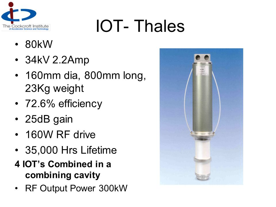 IOT- Thales 80kW 34kV 2.2Amp 160mm dia, 800mm long, 23Kg weight