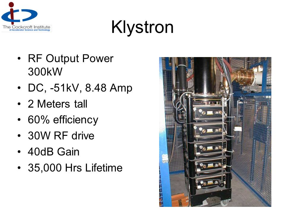 Klystron RF Output Power 300kW DC, -51kV, 8.48 Amp 2 Meters tall