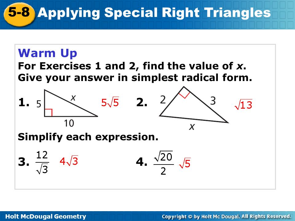 Applying Special Right Triangles Ppt Video Online Download