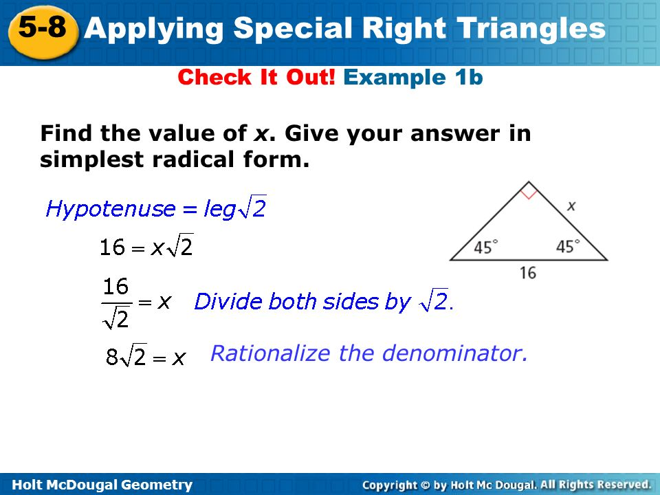 Applying Special Right Triangles Ppt Video Online Download. Worksheet. Simplest Radical Form Worksheet At Mspartners.co