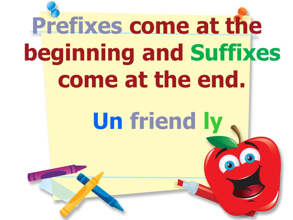 Prefixes come at the beginning and Suffixes come at the end.