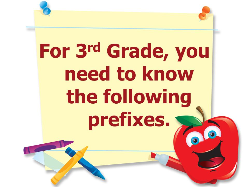 For 3rd Grade, you need to know the following prefixes.