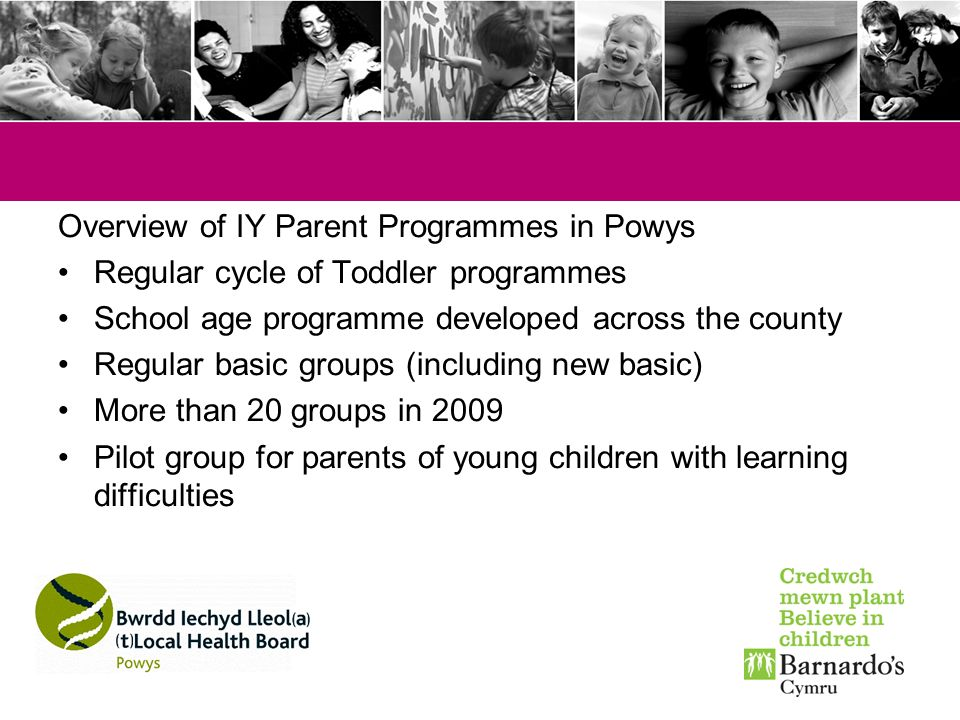 Overview of IY Parent Programmes in Powys
