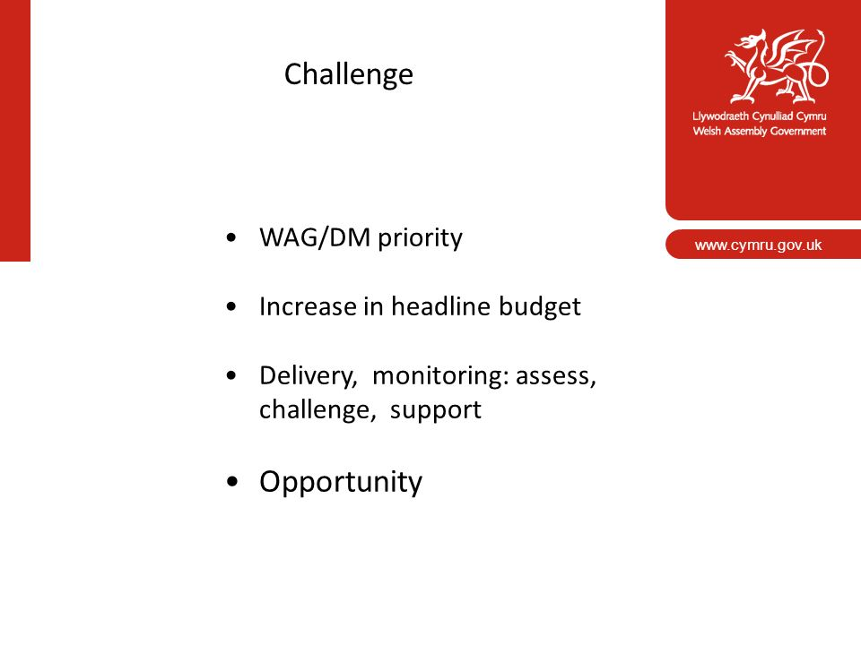 Challenge Opportunity WAG/DM priority Increase in headline budget