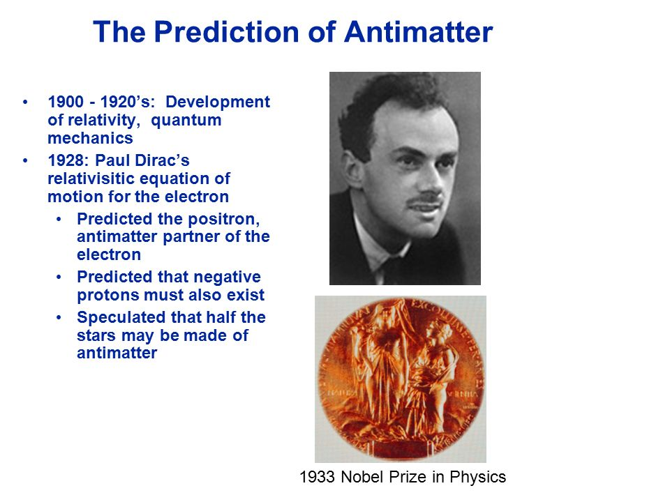 Image result for Prediction and Nobel Prize of antimatter