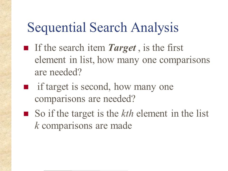 Sequential Search Analysis