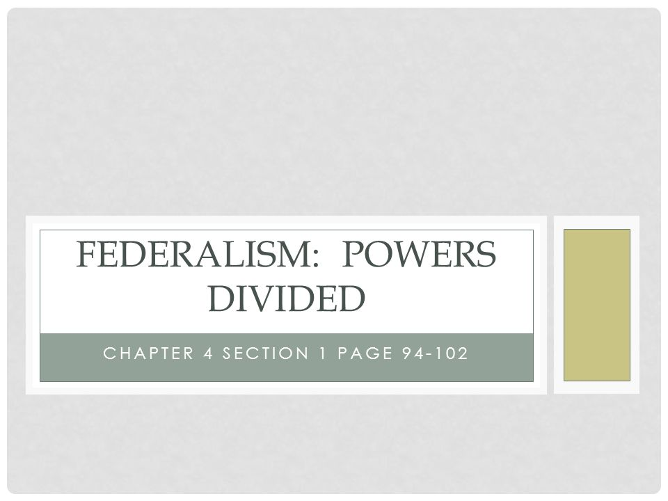 Federalism: Powers Divided - ppt download
