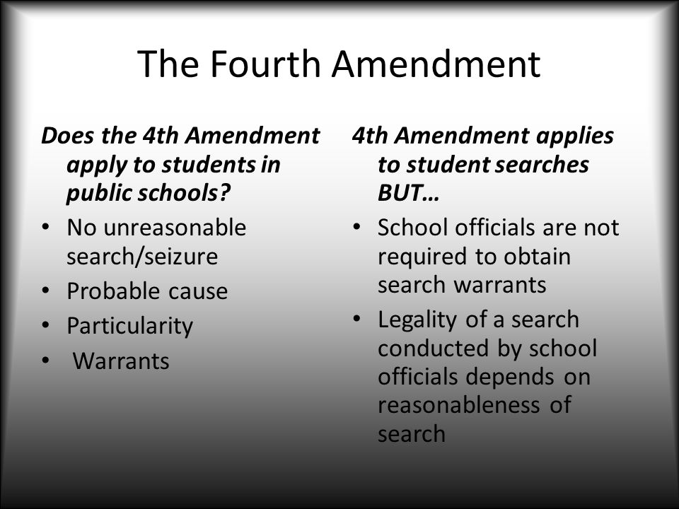 The Fourth Amendment Does The 4th Amendment Apply To Students In Public Schools No Unreasonable Search
