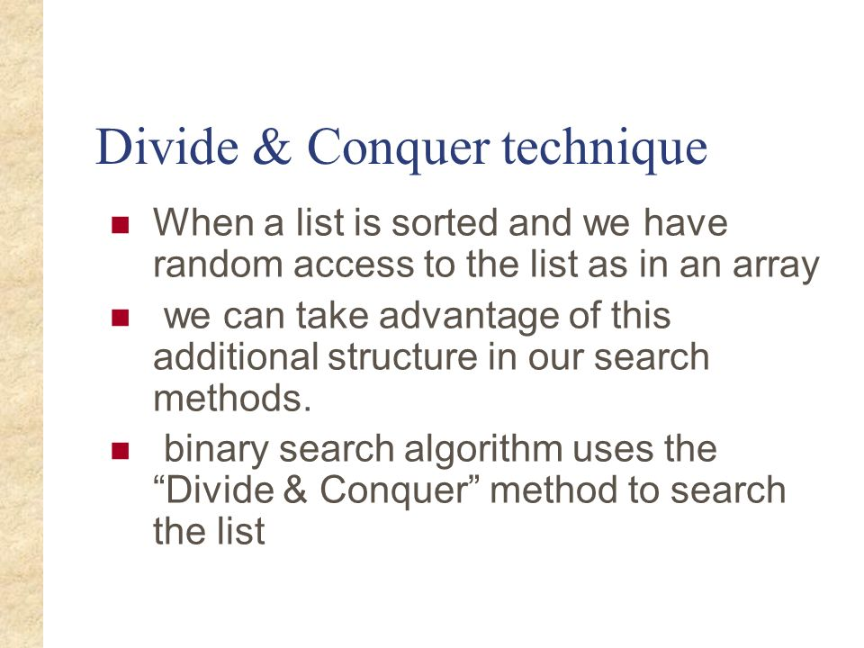 Divide & Conquer technique