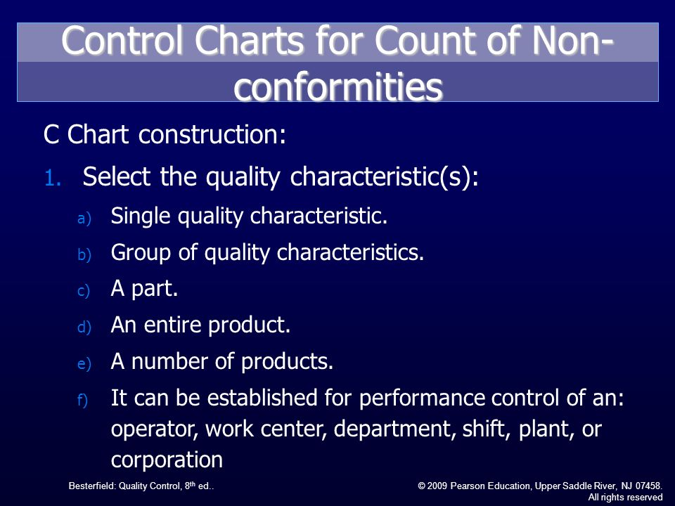 Control Charts For Count Of Non Conformities