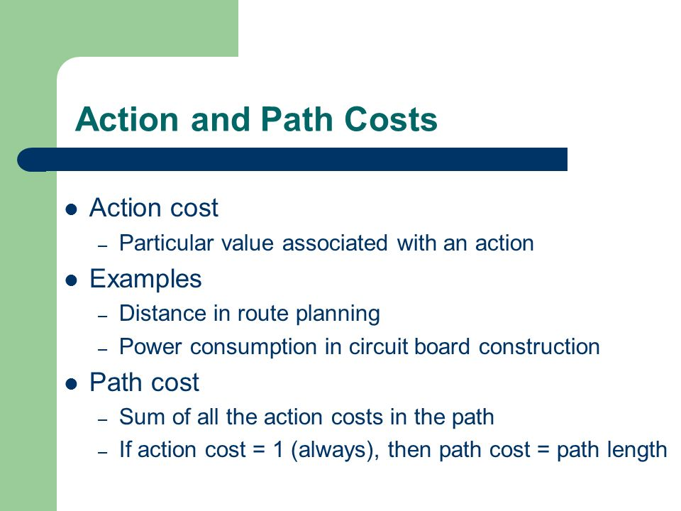 Action and Path Costs Action cost Examples Path cost
