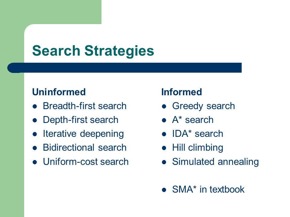 Search Strategies Uninformed Breadth-first search Depth-first search