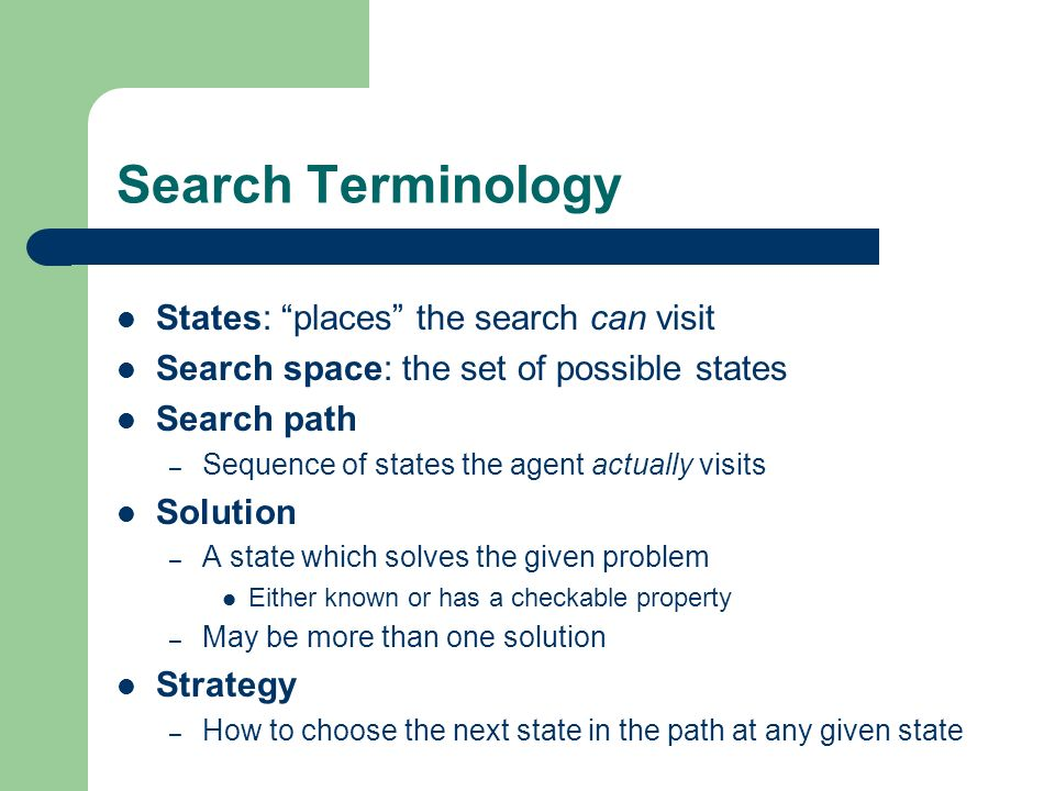 Search Terminology States: places the search can visit