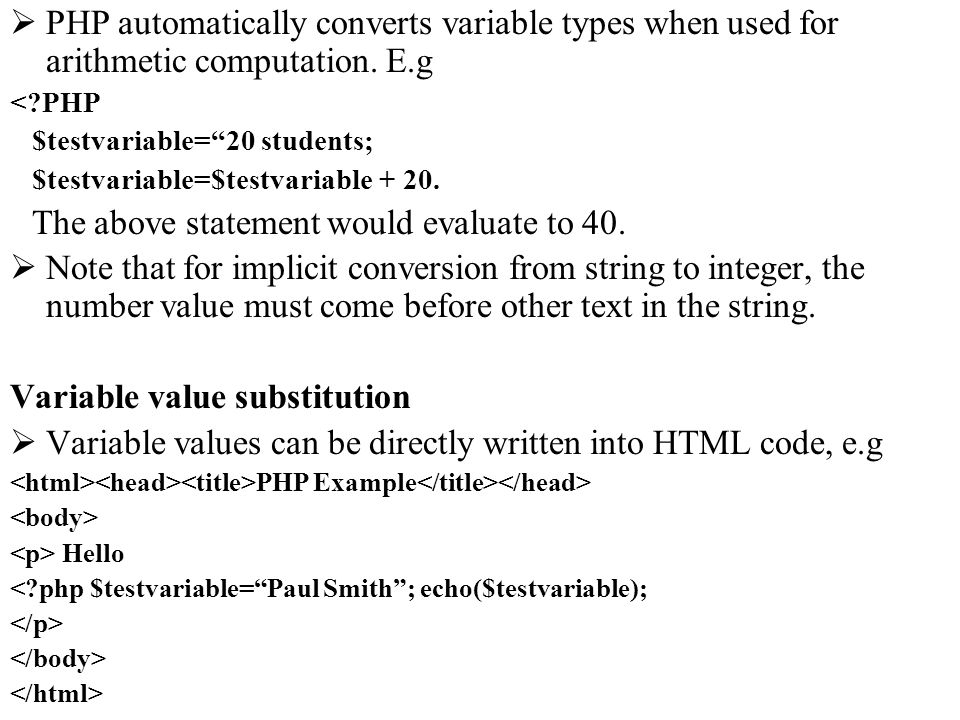Variable value substitution