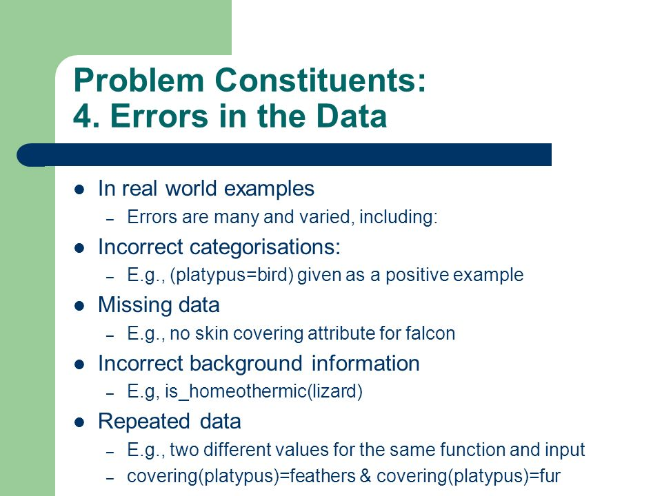 Problem Constituents: 4. Errors in the Data