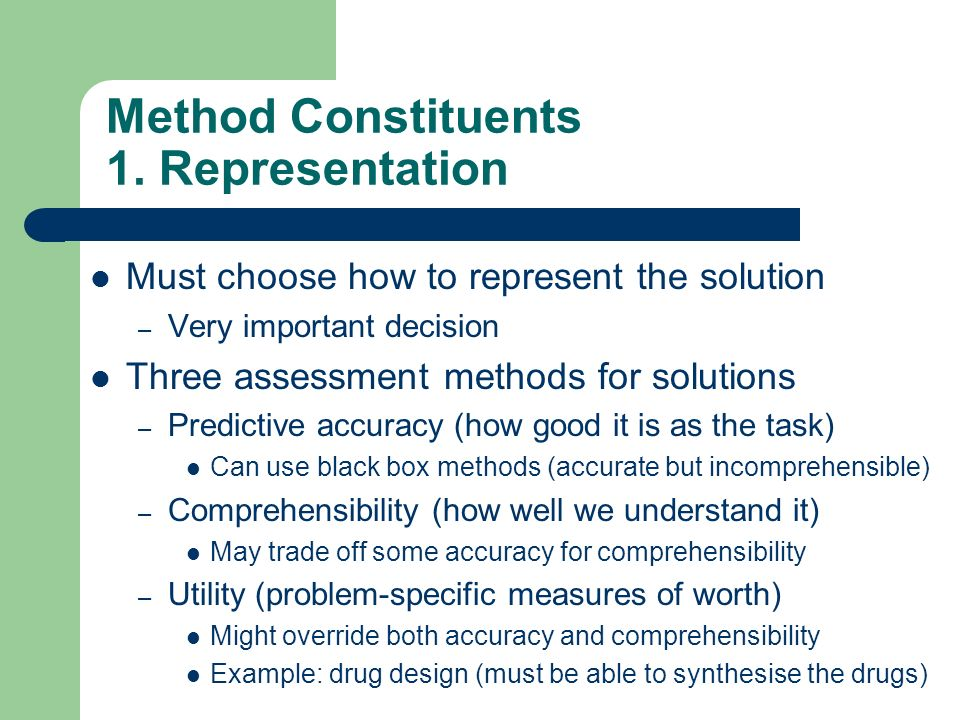 Method Constituents 1. Representation