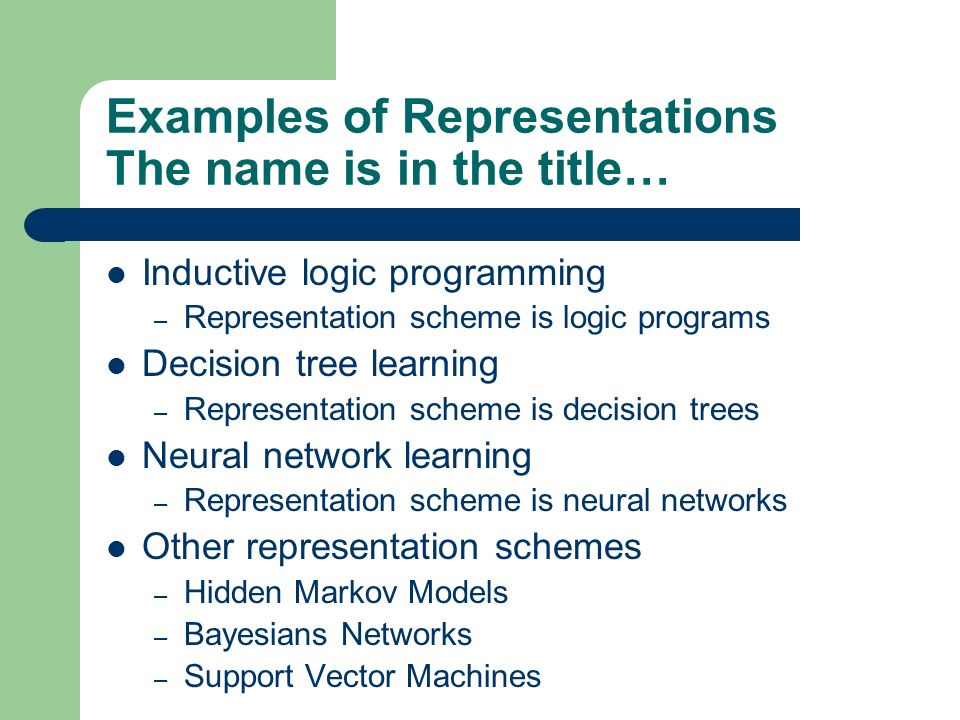 Examples of Representations The name is in the title…