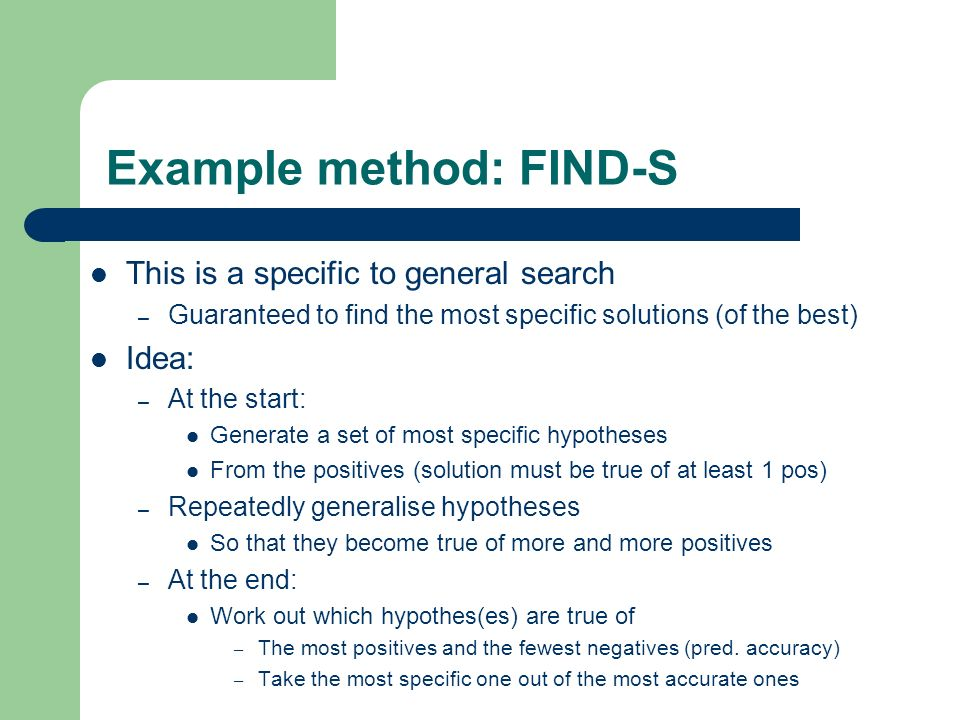 Example method: FIND-S