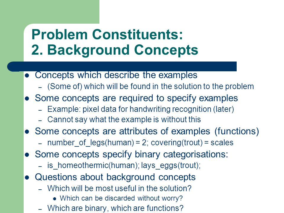 Problem Constituents: 2. Background Concepts