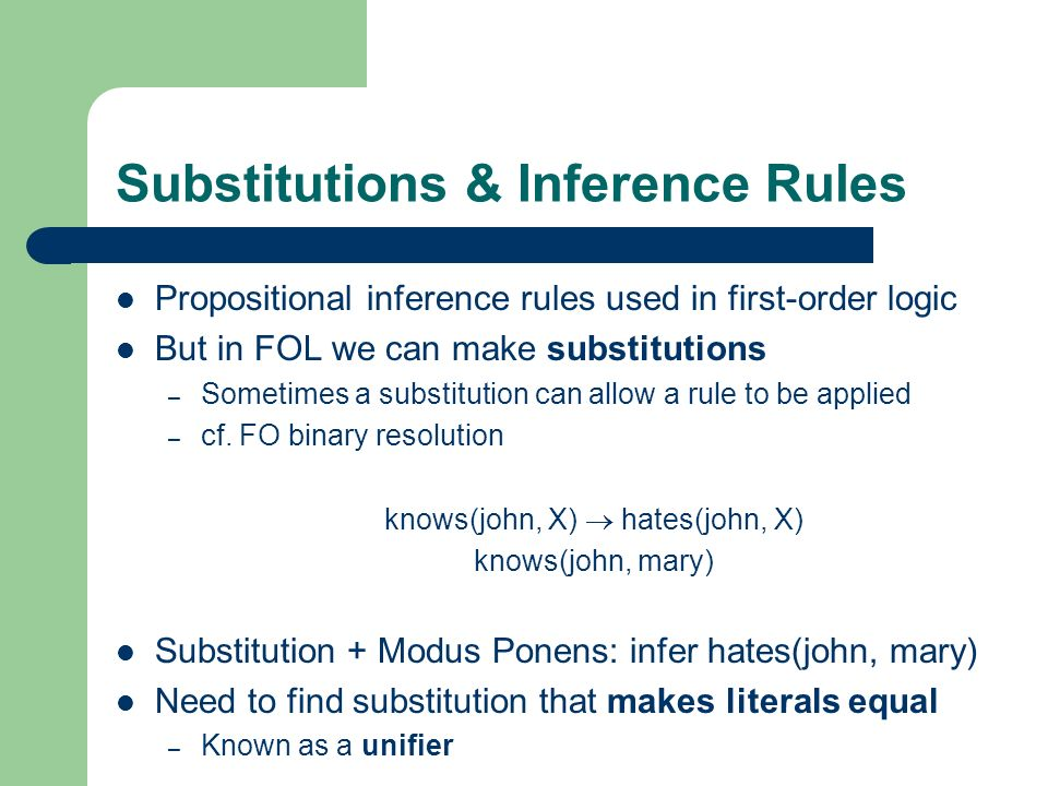 Substitutions & Inference Rules