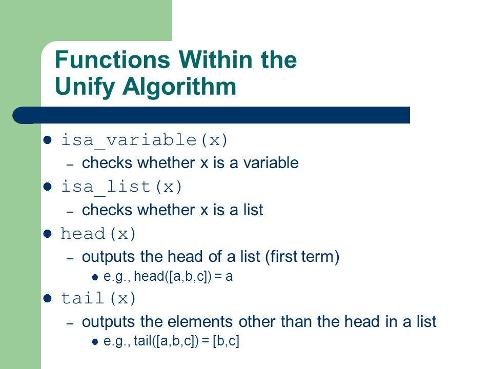 Functions Within the Unify Algorithm