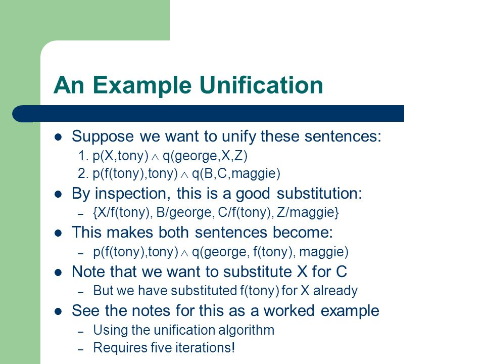An Example Unification