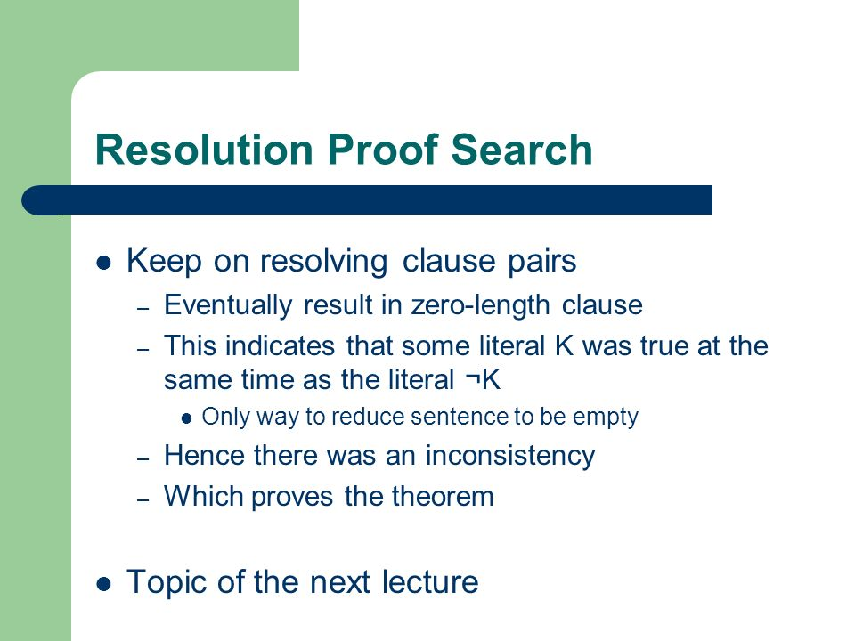 Resolution Proof Search